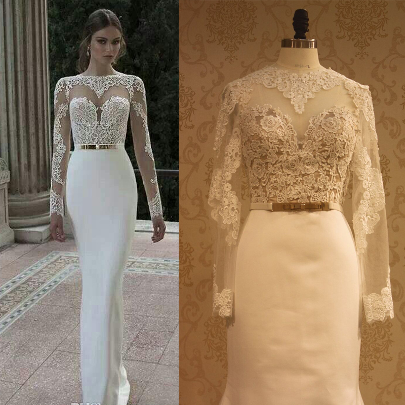 de mariage lace long sleeve wedding dresses sheer sexy bridal gown