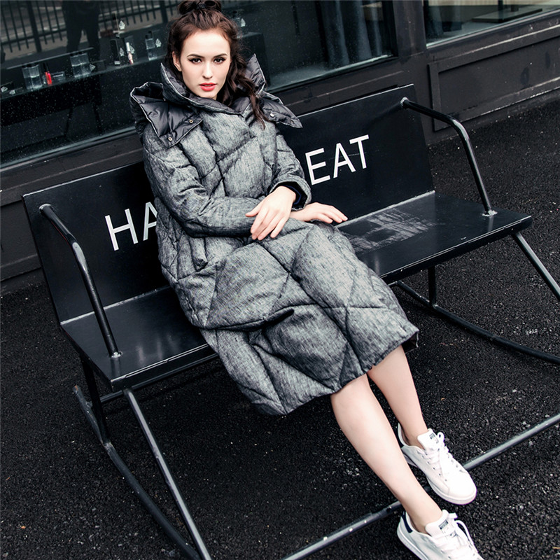 Double face winter jacket women 2017 long thicken Women down coat with a hood loose reversible Cotton linen Cloak down jacket cawanerl car canbus led package kit 2835 smd white interior dome map cargo license plate light for audi tt tts 8j 2007 2012