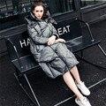 Dupla face mulheres jaqueta de inverno 2017 Mulheres de longo engrossar para baixo casaco com um capuz solto Manto de linho de Algodão reversível para baixo jaqueta