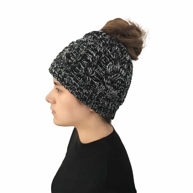 d7d5d43844c ... 2018 Stylish Ponytail Beanie Winter Hats For Women Crochet Knit Caps  Skullies Beanies Warm Cap Female ...