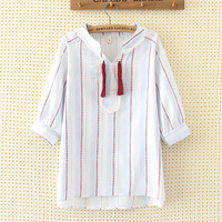 Plus Size Women Shirt Female O neck Half Sleeve Loose Summer Blouse Striped Embroidery Tops