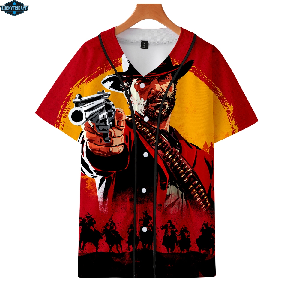 LUCKYFRIDAYF 3D RED DEAD REDEMPTION 2 Loose Short Sleeve Baseball T-shirt Men 3D US Fashion Casual The Button Baseball Tshirt