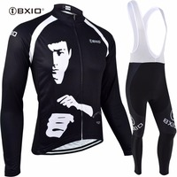 Black Bxio Cycling Jersey Sportswear Mtb Kongfu Man Full Zipper Mtb Jersey Super Warm Cycling Clothes