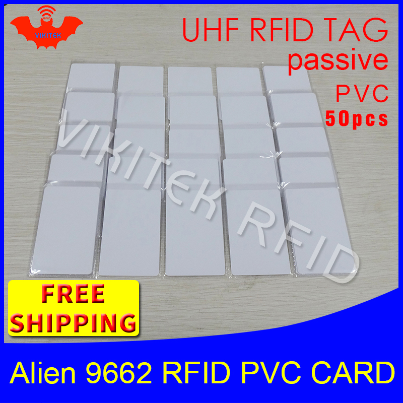UHF RFID tag PVC card Alien 9662 915mhz 868mhz 860-960MHZ Higgs3 EPC ISO18000-6C 50pcs free shipping smart card passive RFID tag 1000pcs long range rfid plastic seal tag alien h3 used for waste bin management and gas jar management