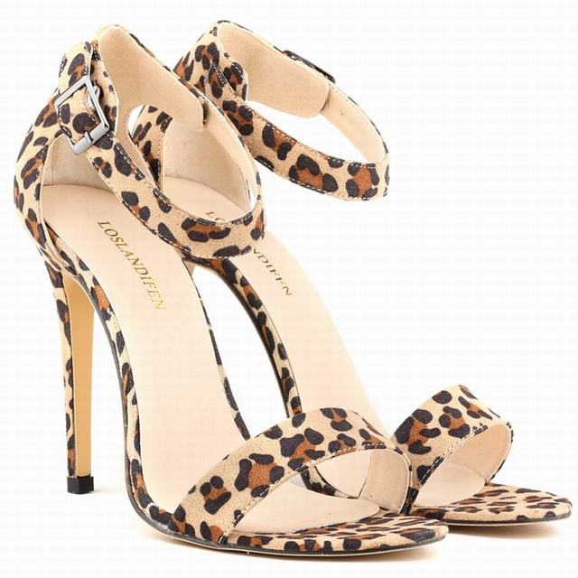 Fashion Women sandals Sexy Leopard Line High Heels Strappy Sandals ...