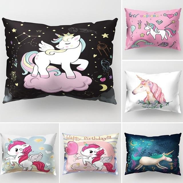 Cartone animato Unicorno Coperture per Cuscini Infantile Arcobaleno Carino Stamp