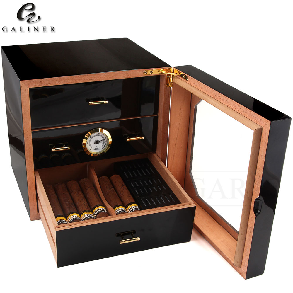 Black Glossy Cigar Humidor Box Cedar Wood Cigar Case W Humidifier Hygrometer Cigar Box Luxury Humidors