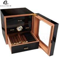 Boîte à cigares noire brillante boîte à cigares en bois de cèdre avec humidificateur hygromètre boîte à cigares cave de luxe pour cigares COHIBA Cuba