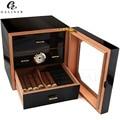 Caja de madera de cedro humidificador de cigarro de alto brillo negro con caja de cigarros humidificador para cigarros COHIBA