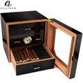 Zwart Hoogglans Sigaar Humidor Kabinet Humidor Box Cedar Houten Sigaren Case Box W/Luchtbevochtiger Hygrometer Voor COHIBA Sigaren