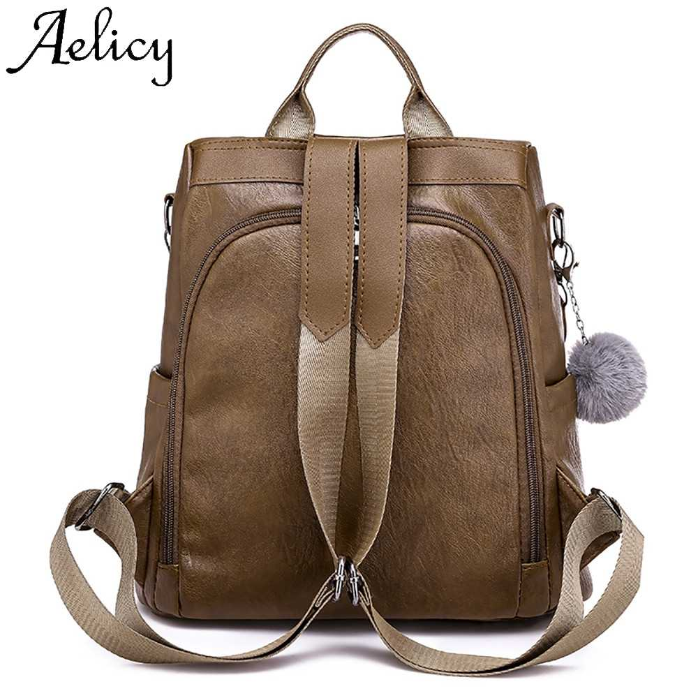 cd3381aa12a Aelicy Women Backpack Soft Leather Anti-theft Large Capacity Leisure Travel  Bag High Quality Lady Women's Backpack Phone Pocket
