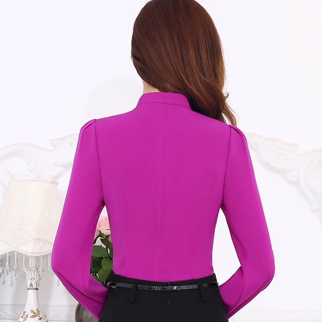 6bbaf435a26 Fashion Long-sleeve shirt female business formal elegant bow white purple  blouse slim chiffon solid