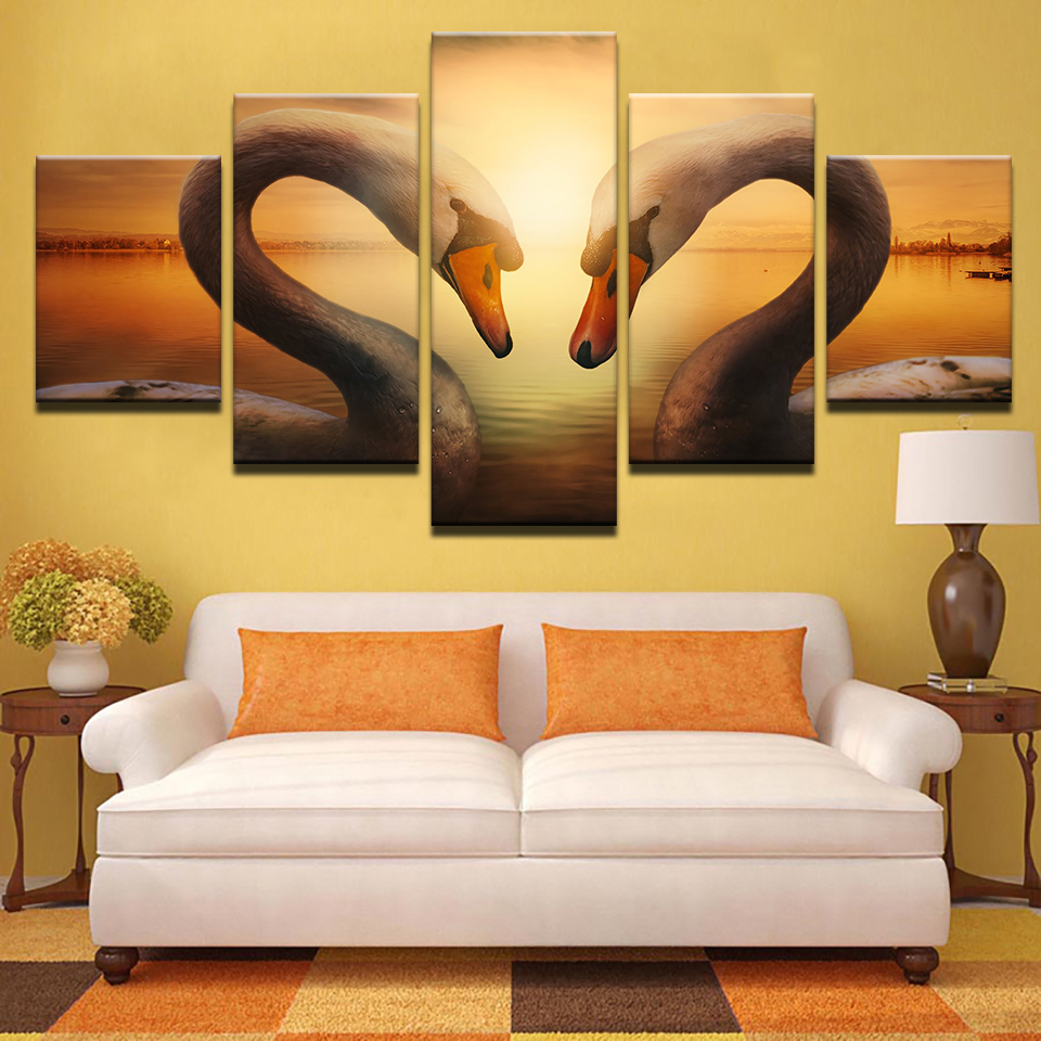 Canvas Painting Wall Art No Frame HD Prints 5 Pieces Swans Lovers ...