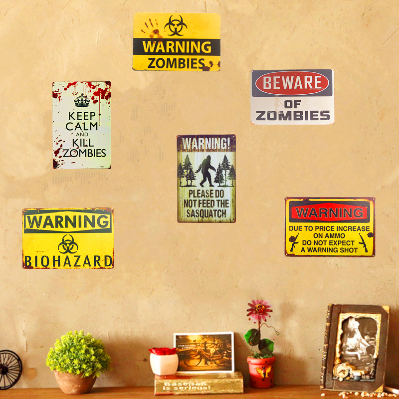 Warning Zombie Sasquatch Tin Metal Sign Plaque Bar Vintage Retro ...