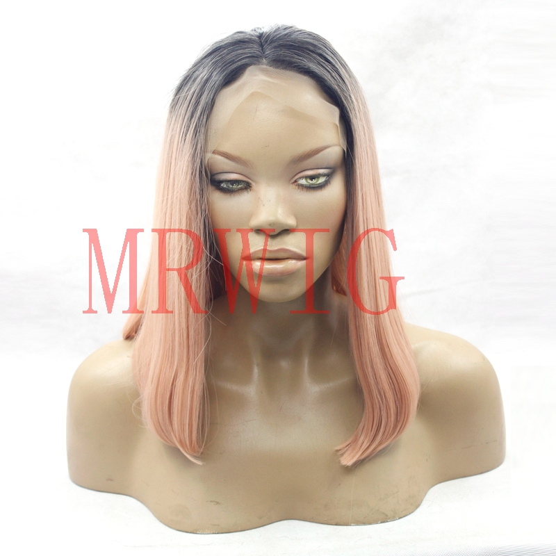 MRWIG short bob straight synthetic hair10-16inch 14inch150% real picture middle part cosplay short dark roots ombre straight wig