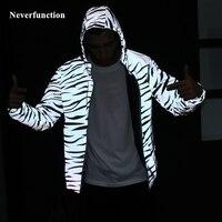 Ночная блестящая одежда мужская леопардовая Светоотражающая ветровка на молнии с капюшоном водонепроницаемая куртка хип хоп Уличная паль...