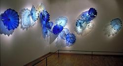 W stylu morskim kryształ niebieski kolor akwarium i Spa dekoracje ścienne ze szkła Murano płyta ścienna ręcznie dmuchanego szkła płyta ścienna