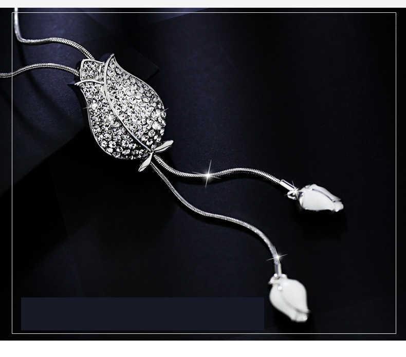 Ajojewel Wit Emaille Tulp Kwastje Lange Ketting Crystal Rhinestone Hanger Kettingen Voor Vrouwen Mode-sieraden Groothandel