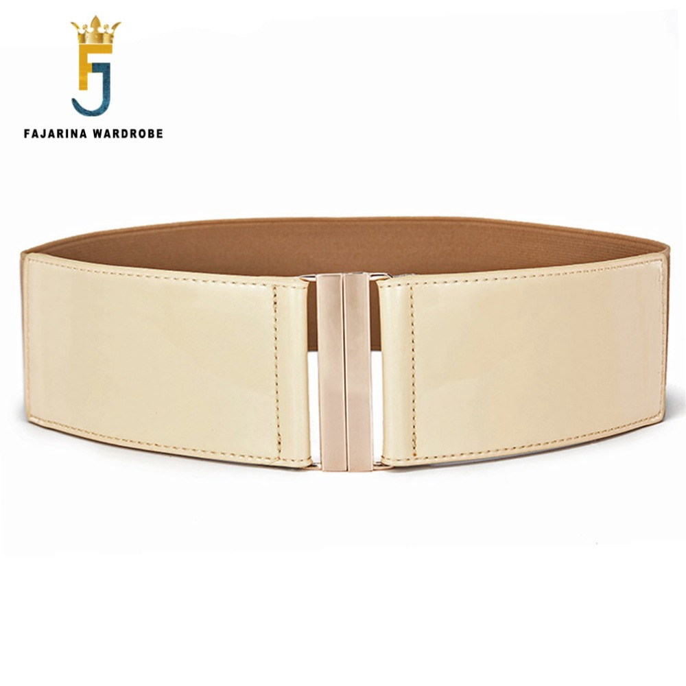 FAJARINA Ladies All-match Woman Decorative Elastic Cow Skin Genuine PU Leather Belts For Women Wide Waist Cummerbunds LDFJ083