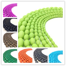 4 6 8 10mm Charm Matte Rubber Neon Oval Glass Spacer Loose Beads DIY #01-32