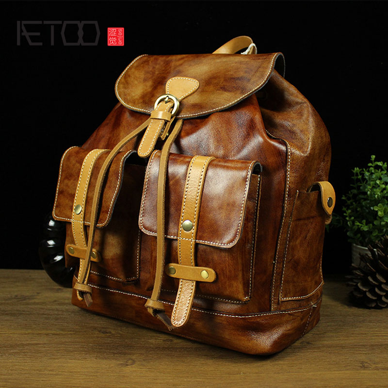 AETOO Europe and the United States retro fashion backpack the first layer of leather clever tree lambskin shoulder bag hit color europe and the united states fashion leather handbags 2017 new retro hit color decals leather small square bag shoulder bag