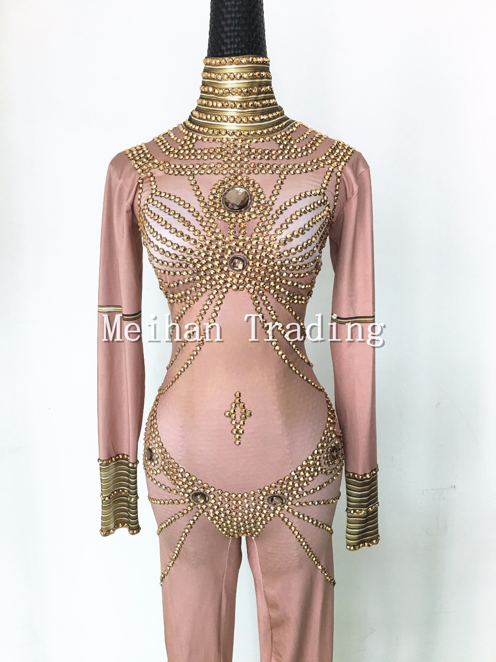 Fashion Stage Jumpsuits Gold Stones Outfit Womens Rompers Nightclub