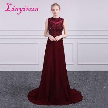 Linyixun Robe de Soiree Cheap Long Chiffon High Neck Sleeveless Evening Dresses 2018 Formal Prom Gowns New Arrived Vestido Longo