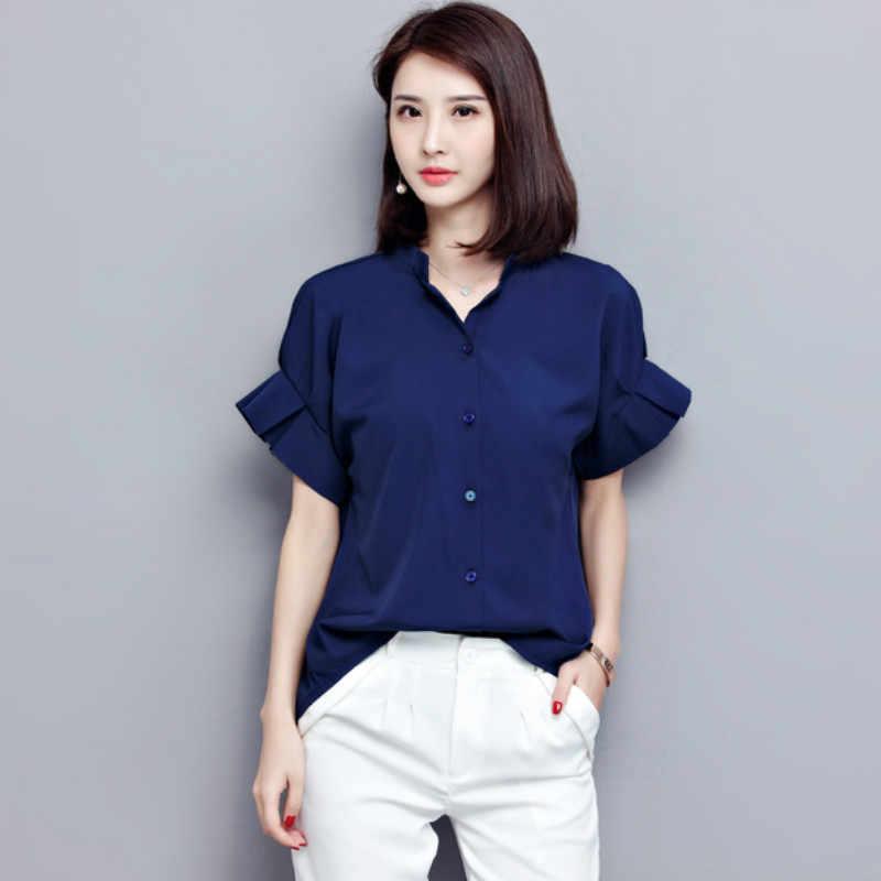 半袖の女性のブラウスオフィスの女性のシャツ 2019 ファッション夏の女性はシャツ女性の服 blusas 580i 30