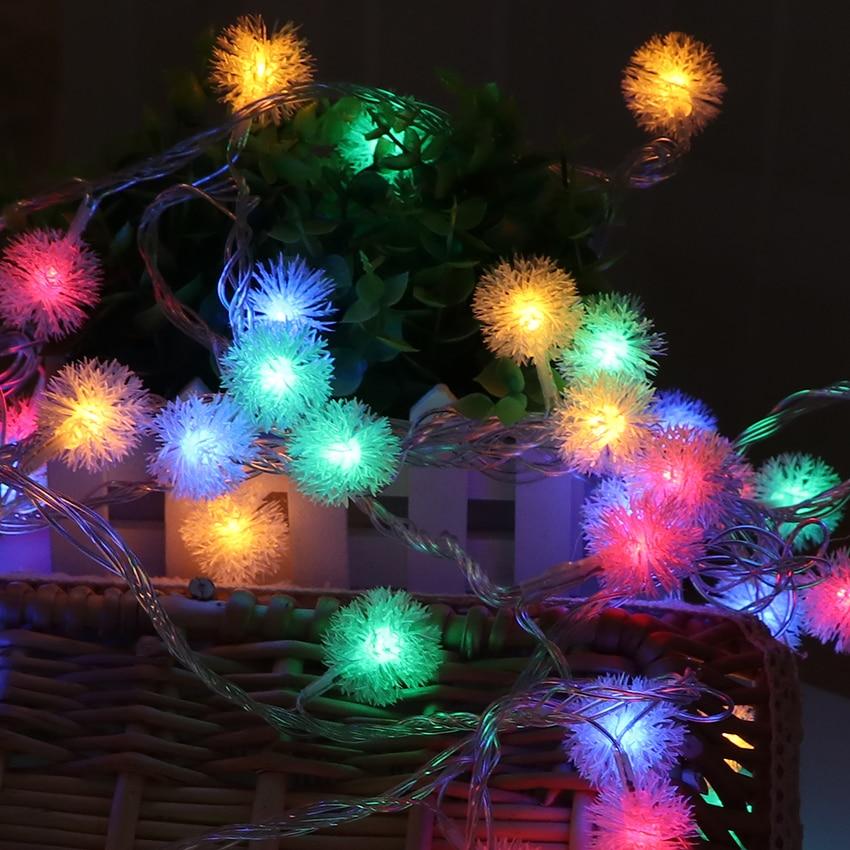 5 м 40 луковицы Батарея питание led ватный шарик фонари цепи Рождество Гирлянды светодиодные Свет Фея гирлянды Освещение LED guirlande luces