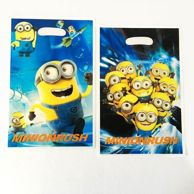 10pcs Cartoon Deable Me Minion Rush Theme Baby Birthday Party Candy Dessert Loot Gift Bags Wedding