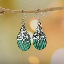 Green Eye Stone Women Bohemia Dangle Earrings Hollow Earring Ethnic Vintage Indian Jewelry  Female Silver