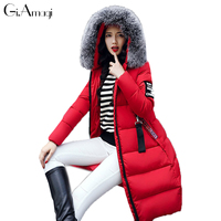Black Padded Jacket 2017 New Cotton Women Long Paragraph Slim Winter Women Jacket Coat Big Fur