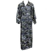 Vintage Black Women Nightwear Kimono Robe Gown Chinese Lady Casual Long Nightgown Sleepwear Satin Bathrobe Nightwear One Size