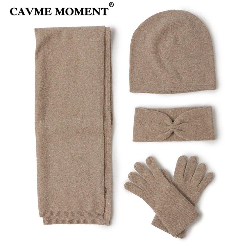 Bufanda de cachemir CAVME Skullies guante Set 4 Uds Cachemira de punto para damas invierno mujer bufandas sombrero diadema guantes Color sólido