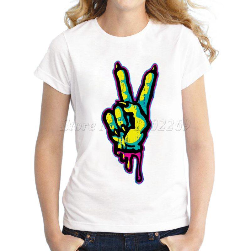 2017 new fashion women 39 s zombie hand design gesture for Full hand t shirts for womens