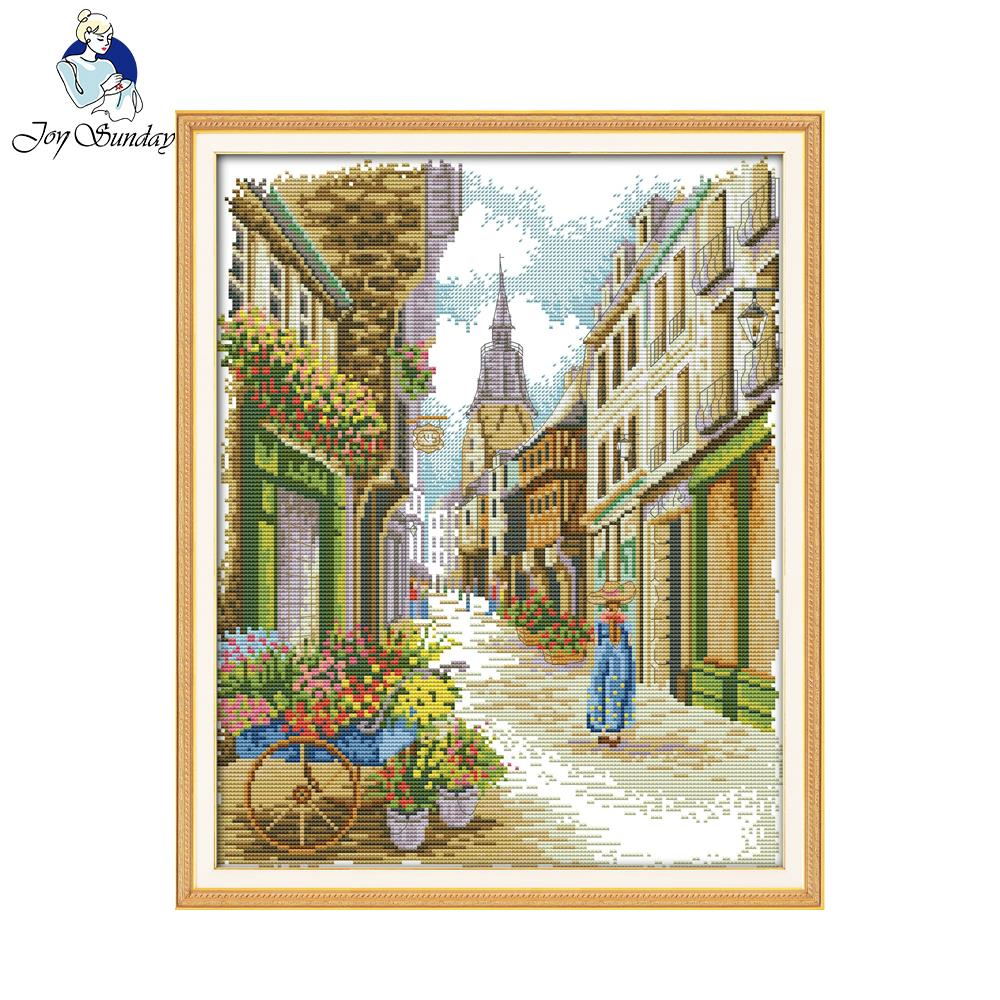 joy sunday scenic style a street view cross stitch christmas stocking kits home ornament for buy embroidery kits online - Cross Stitch Christmas Stocking Kits