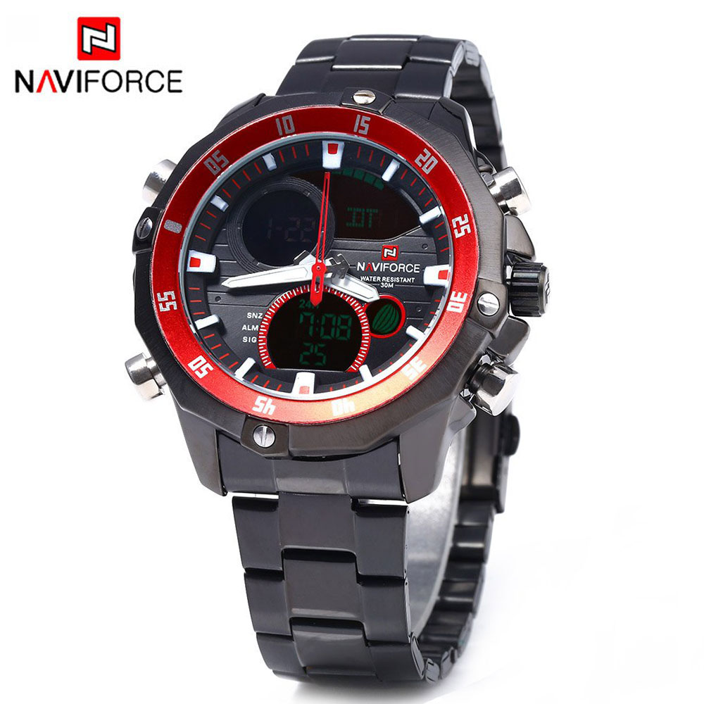 NAVIFORCE Brand Men Quartz Watch Clock Men's Sport Watch LED Digital Military Waterproof Relogio Masculino Free for Regulator naviforce watches men luxury brand quartz watch clock digital led army military sport watch relogio masculino free for regulator