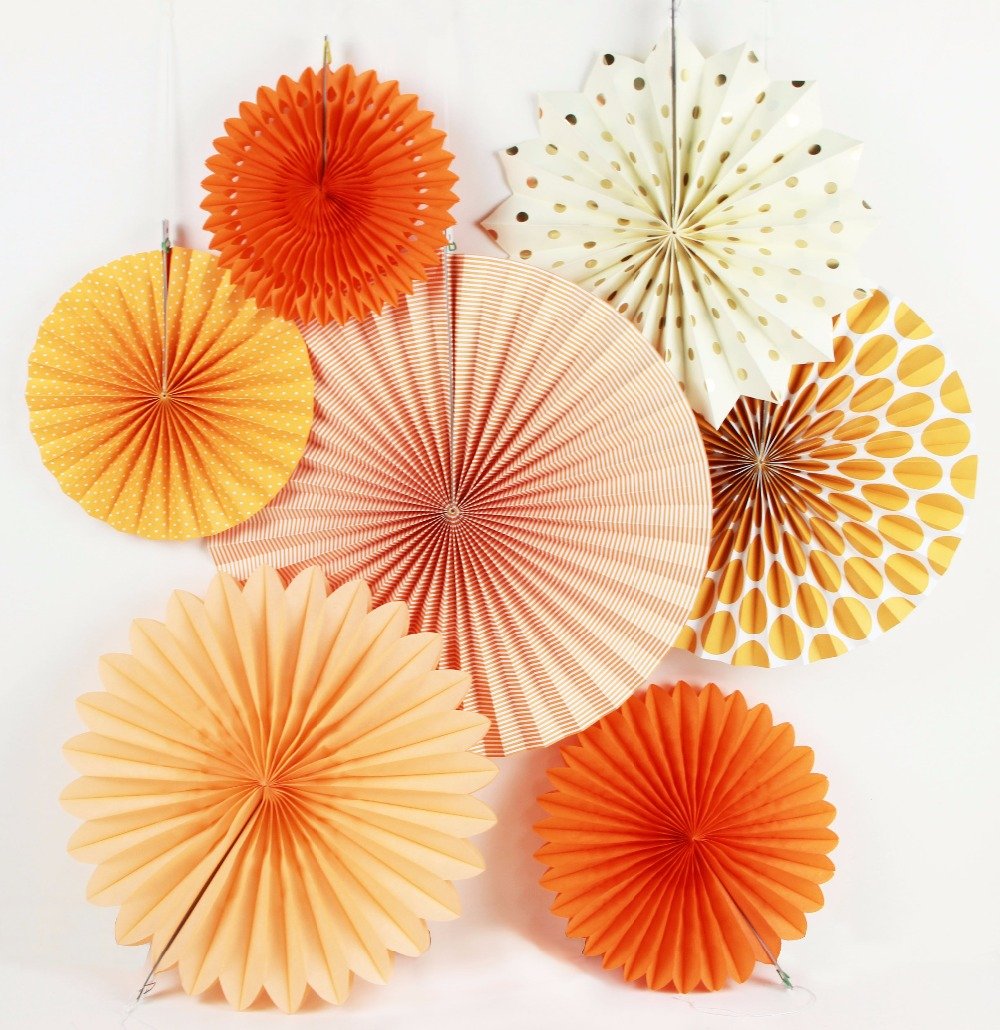 New Orange Set Paper Crafts Home Hanging Decoration Party Birthday Wedding Baby Shower Sunshine Bright Color Paper Fan 2
