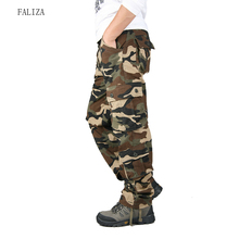 High Quality Mens Cargo Pants Camouflage Loose Fit Men Pants Military Multi Pockets Large Size Army Straight Trousers Male P103