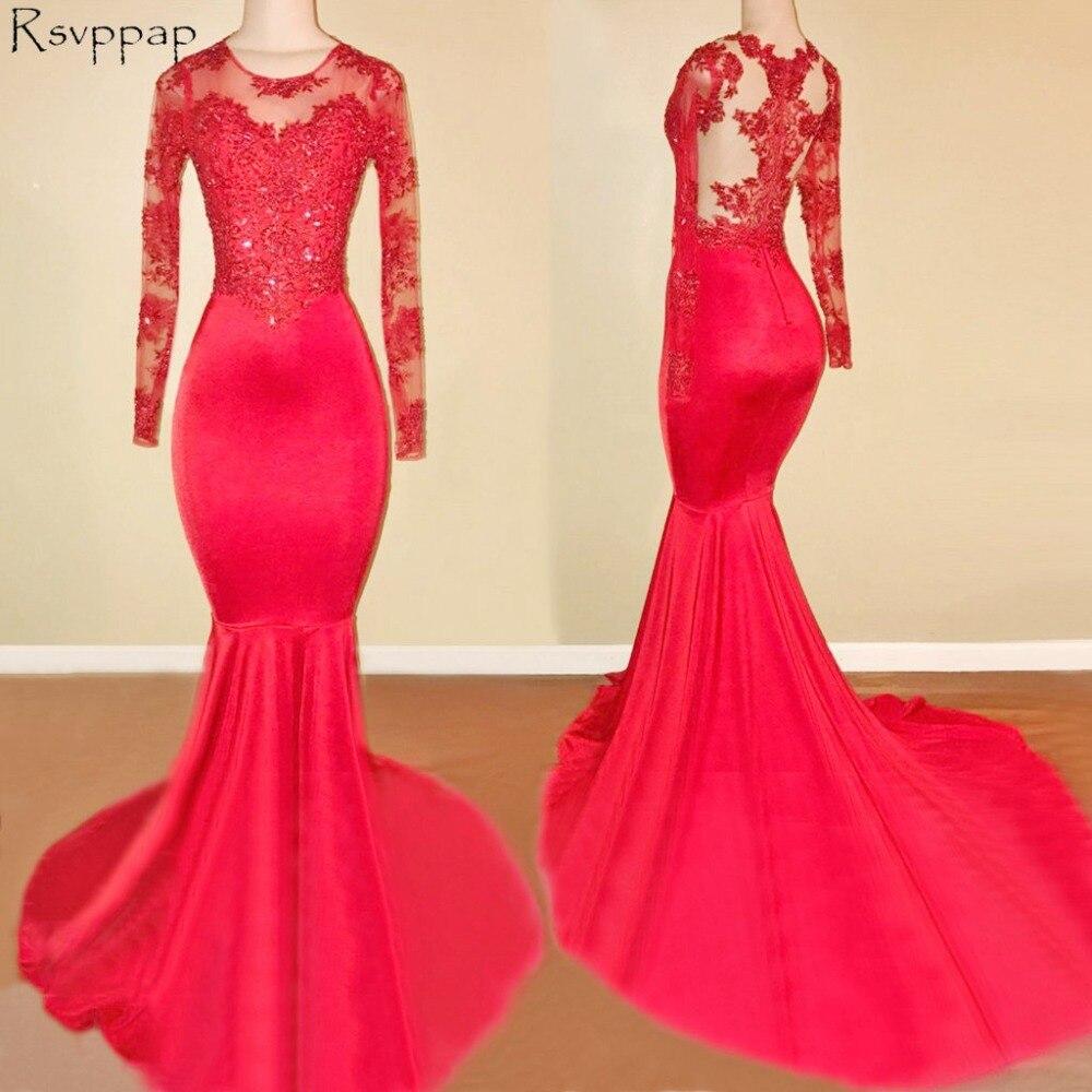 Longues robes de bal rouge 2019 Top en dentelle transparente à manches longues col rond longueur de plancher robe de bal sirène africaine