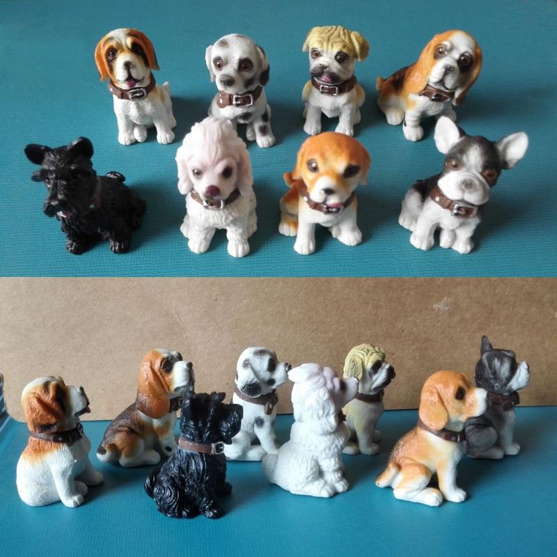 все цены на (8 pcs/lot) Plastic Puppy Toy Figurine Cute Doggie Model Poodle Pug Labrador Golden Retriever Dog Figure Decoration Small Gifts