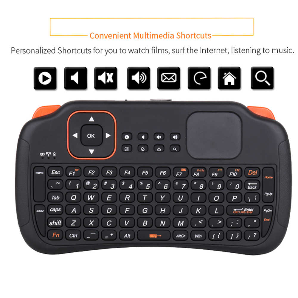 Mini Draadloze Toetsenbord Met Touchpad 2.4G 83 toetsen Fly Muis Afstandsbediening Touchpad Voor Samsung LG Android Tv Box PC Laptop HTPC