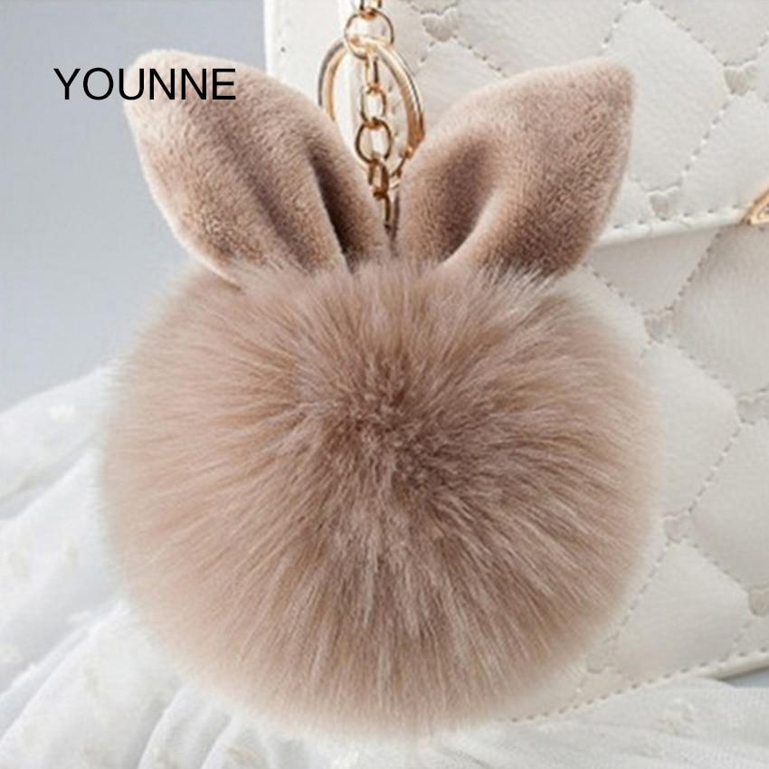 Younne Для женщин сумка аксессуары заячьи ушки кролика декоративные кулон женский сплошной Цвет пушистый автомобилей кулон jewelry брелок
