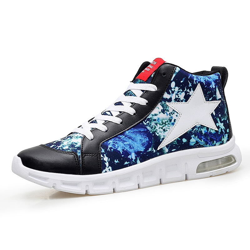 Printing Star Picture Men's Sports High Top Outdoor Wild Breathable Skateboarding Shoes Original Design Painted Boots Men Canvas
