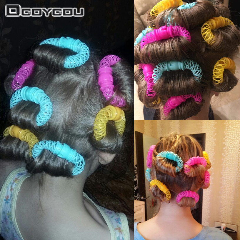 8PCS/Set Hot Girls Curler Hair Curlers Elastic Ring Bendy Curler Spiral DIY Tool Girl Women Accessories Elastic Hair Ring