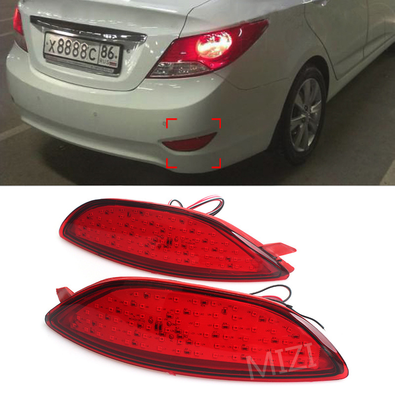 2Pcs For Hyundai Accent / 2011-2015 Hyundai Verna Car Styling Parking Warning Brake Rear Bumper Reflector Light 12V Red LED Tail accent verna solaris for hyundai led tail lamp 2011 2013 year red color yz
