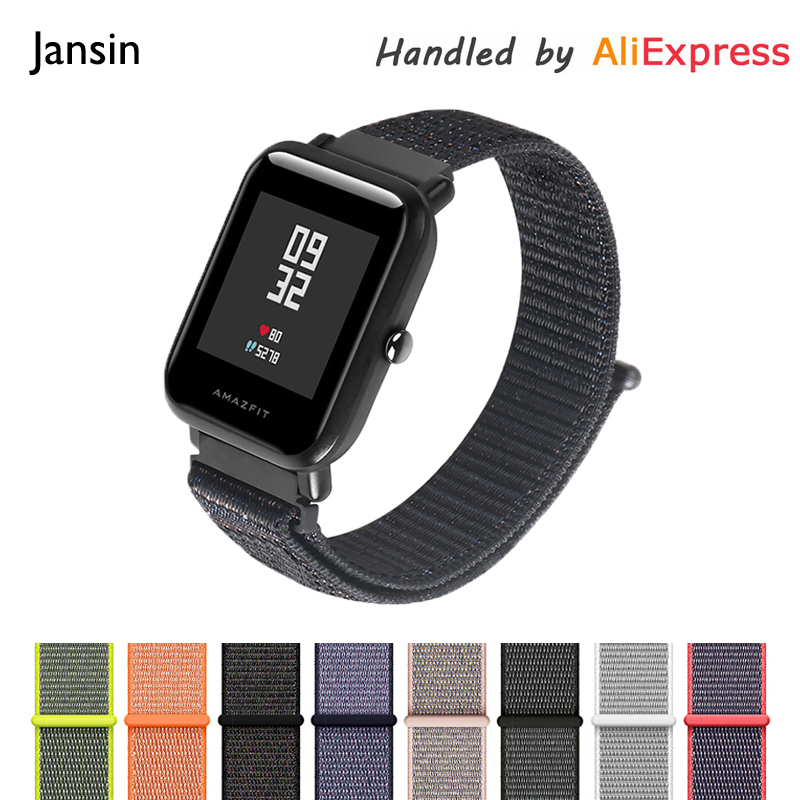 JANSIN Nylon sport strap For Xiaomi Huami Amazfit Bip BIT PACE Lite Youth Smart Watch Wearable Wrist Bracelet Watchband ollivan replacement metal strap for xiaomi huami amazfit bip bit pace lite youth smart watch wearable wrist bracelet watchband