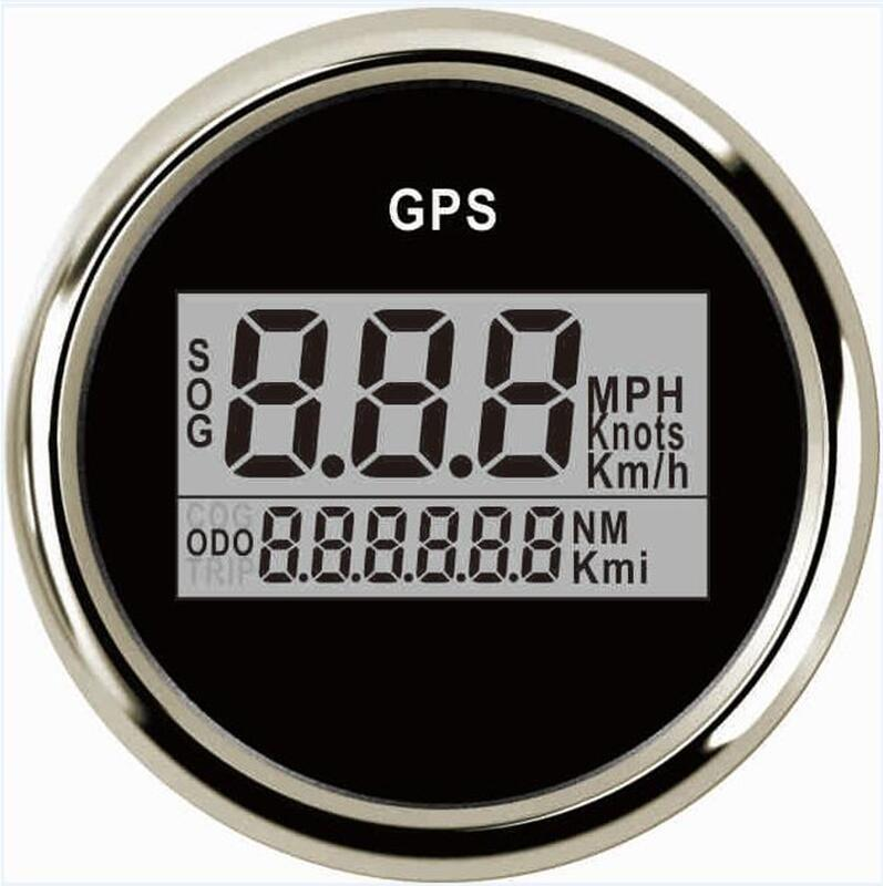 free shipping 1pc 52mm gps boat speedometers auto odometers 9-32v with light and gps antenna fit for auto or boat black color
