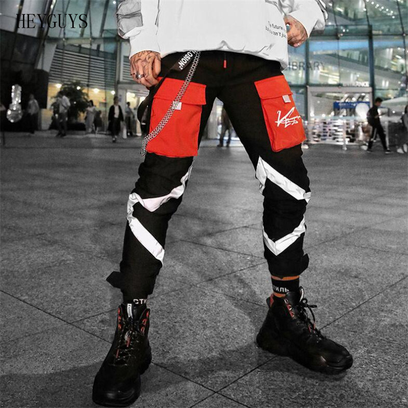 HEYGUYS Pants Reflective-Pants Spring Streetwear Elastic Men's Fashion New Hip-Hop Night-Shine