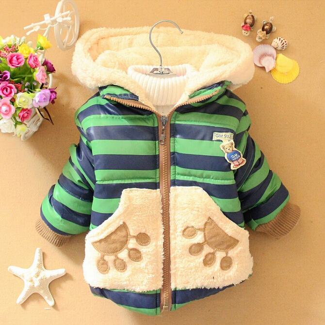 New Baby Girls Boys Winter Jacket Kids Cartoon Bear Cotton Keeping Warm Coat Chirdren Stripe Lovely